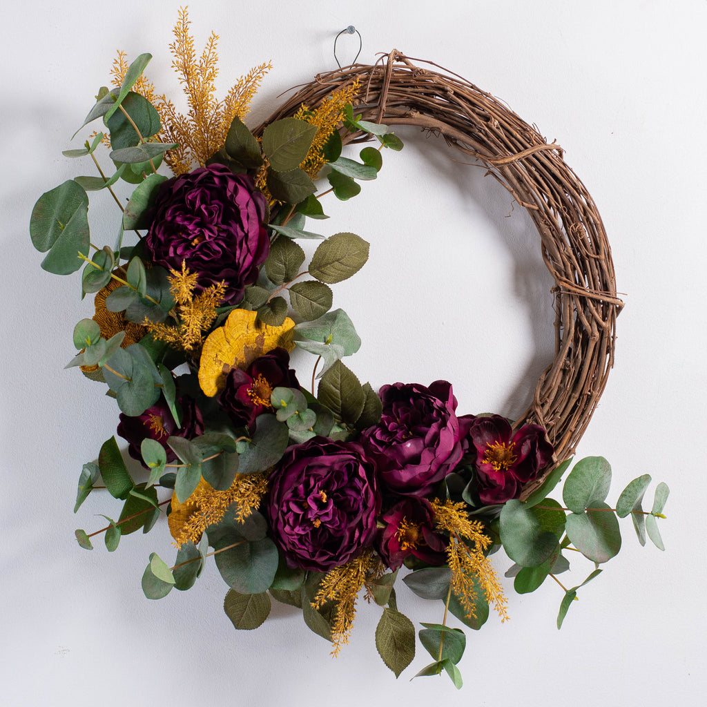 Wine Rose, Natural Dried Mushroom & Eucalyptus Front Door Fall Wreath