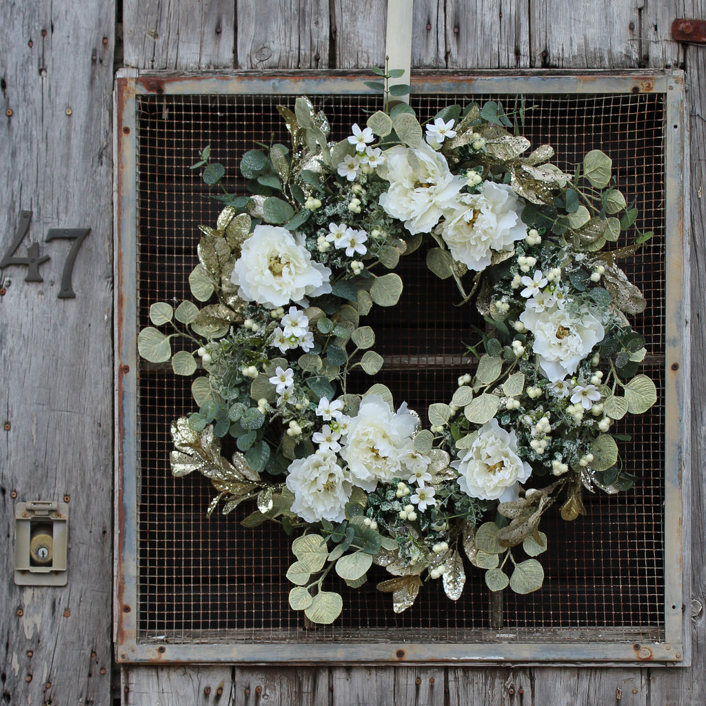 Winter White Peony & Gold Shimmer Eucalyptus Front Door Christmas Holiday Wreath