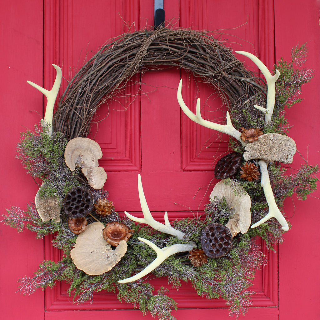 Woodland Folklore - Mossy Branch, Natural Dried Pod Mix & Faux Deer Antler Whimsical Fall Winter Front Door Wreath