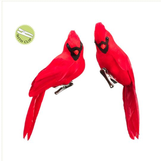 Faux Feather Red Cardinal Birds Clip On Ornaments - Set of 2