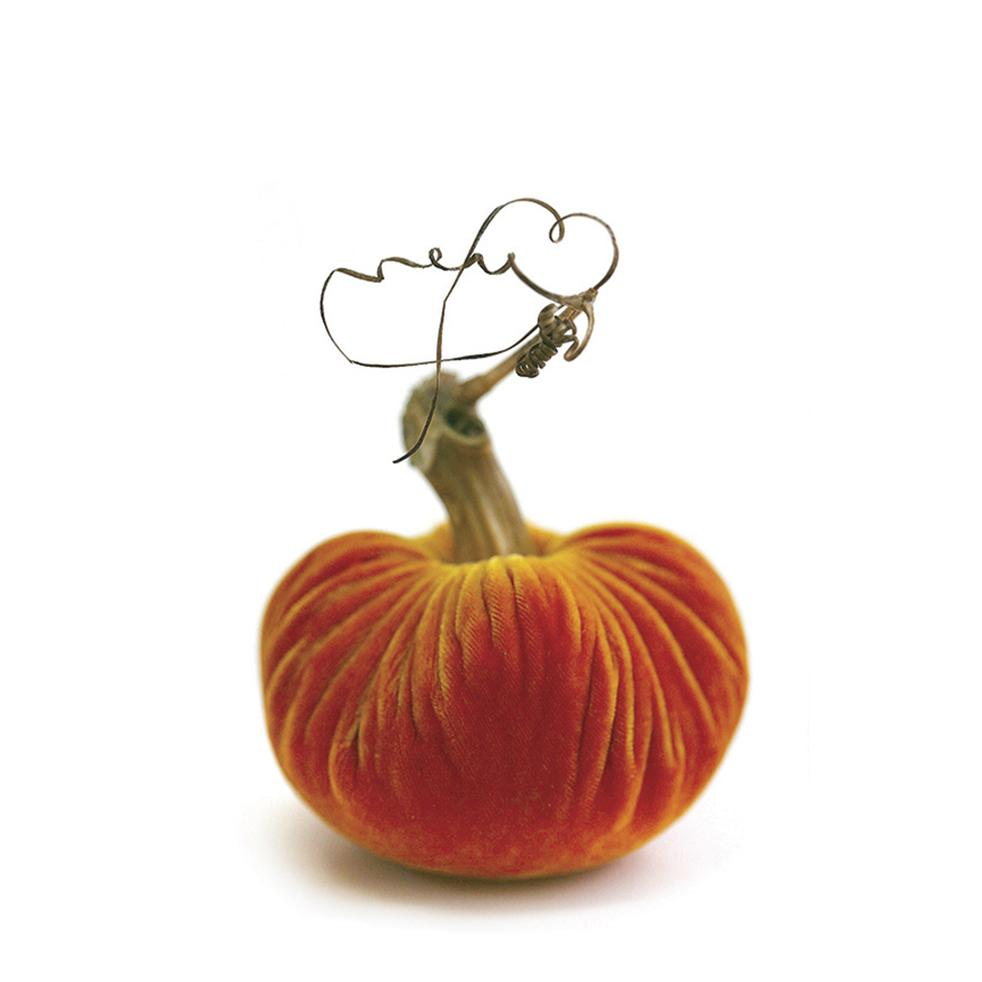 Plush Pumpkin Luxury Velvet Real Stem Pumpkin Fall Decor - Carrot 4""