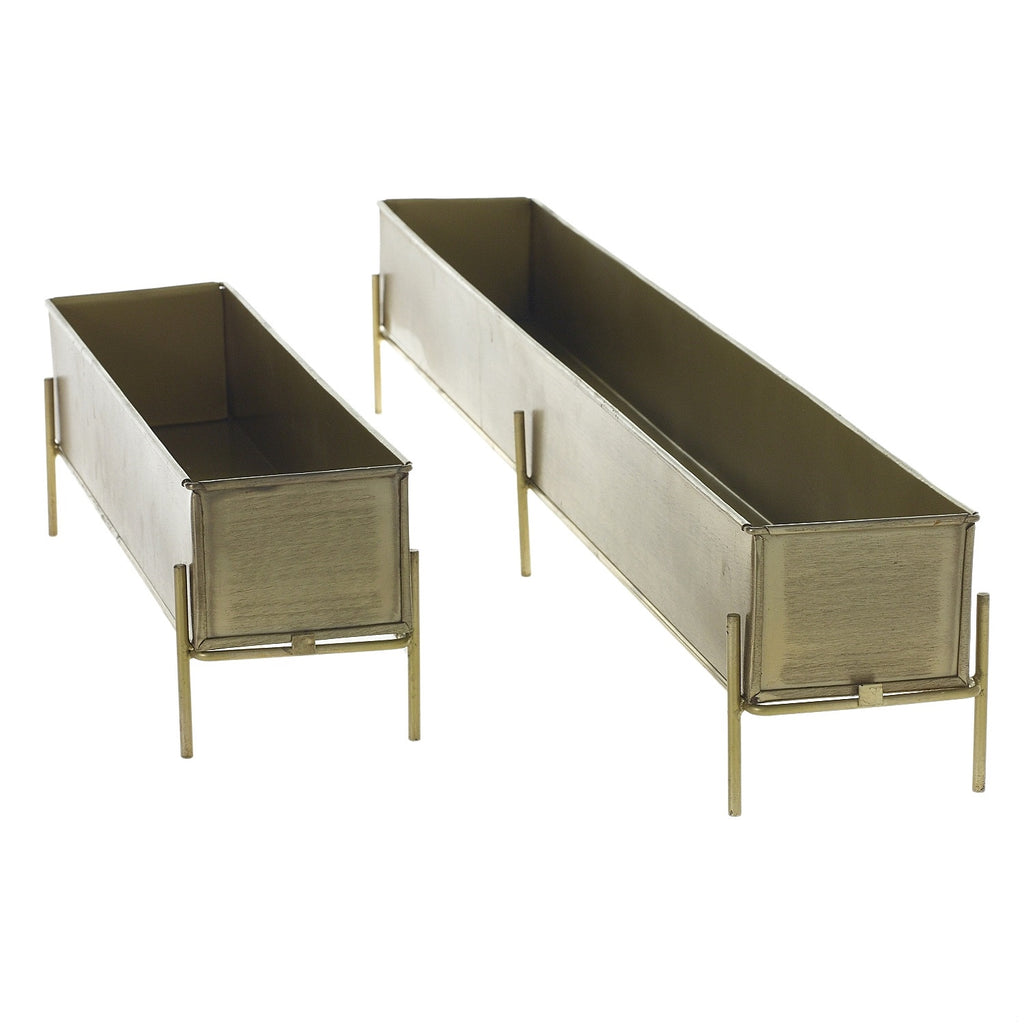 Antiqued Gold Elongated Rectangular Trough Planter - 2 Size Options Available