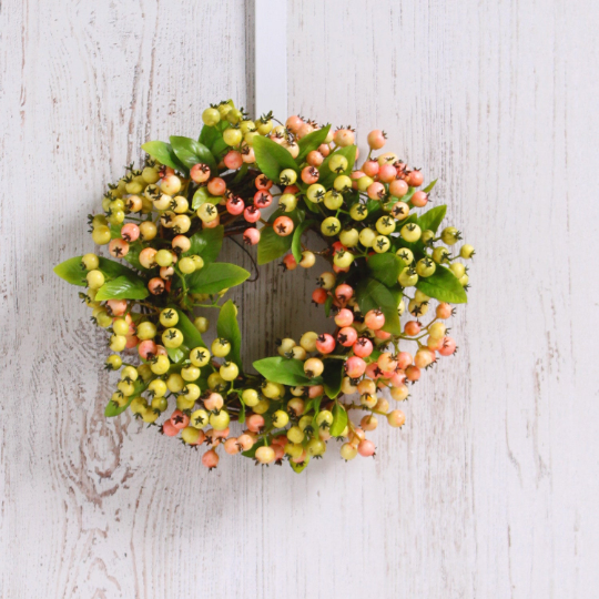 Pink & Green Pepperberry Mini Wreath or Candle Wreath Centerpiece