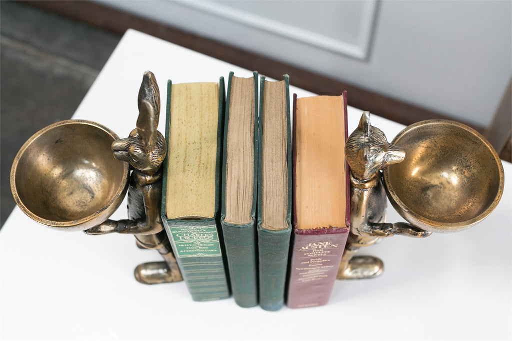 Eric + Eloise Bronzed Aluminum Serving Dish Standing Bookends Collection