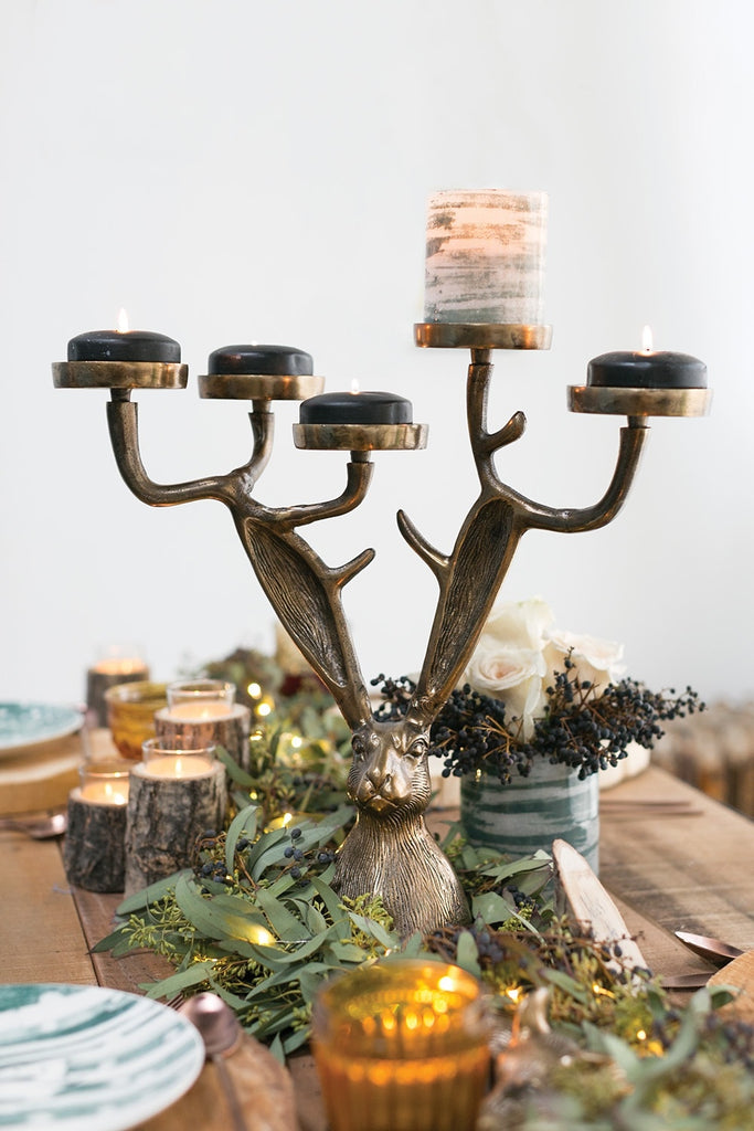 Eric Bronzed Aluminum Candelabra Candle Holder Eric + Eloise Collection
