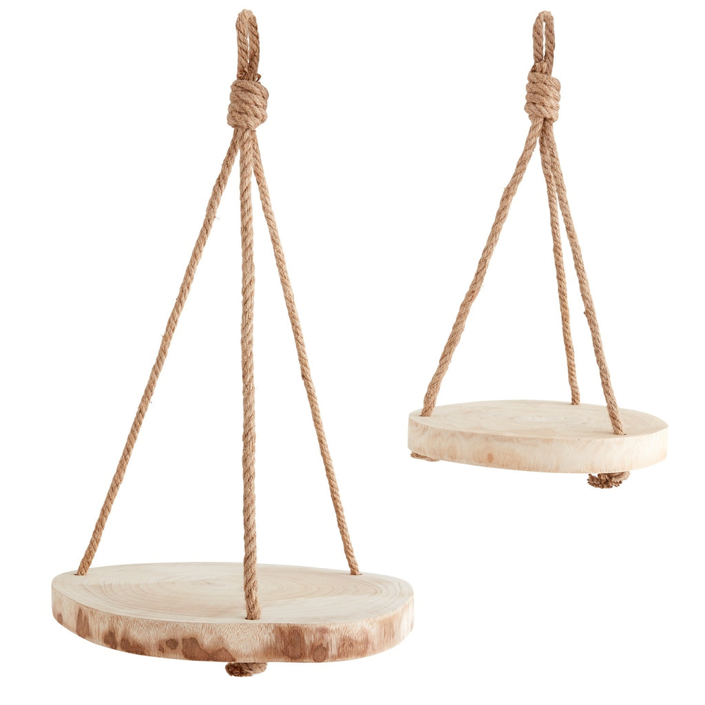 Paulowina Wood Modern Hanging Plant Holder with Jute