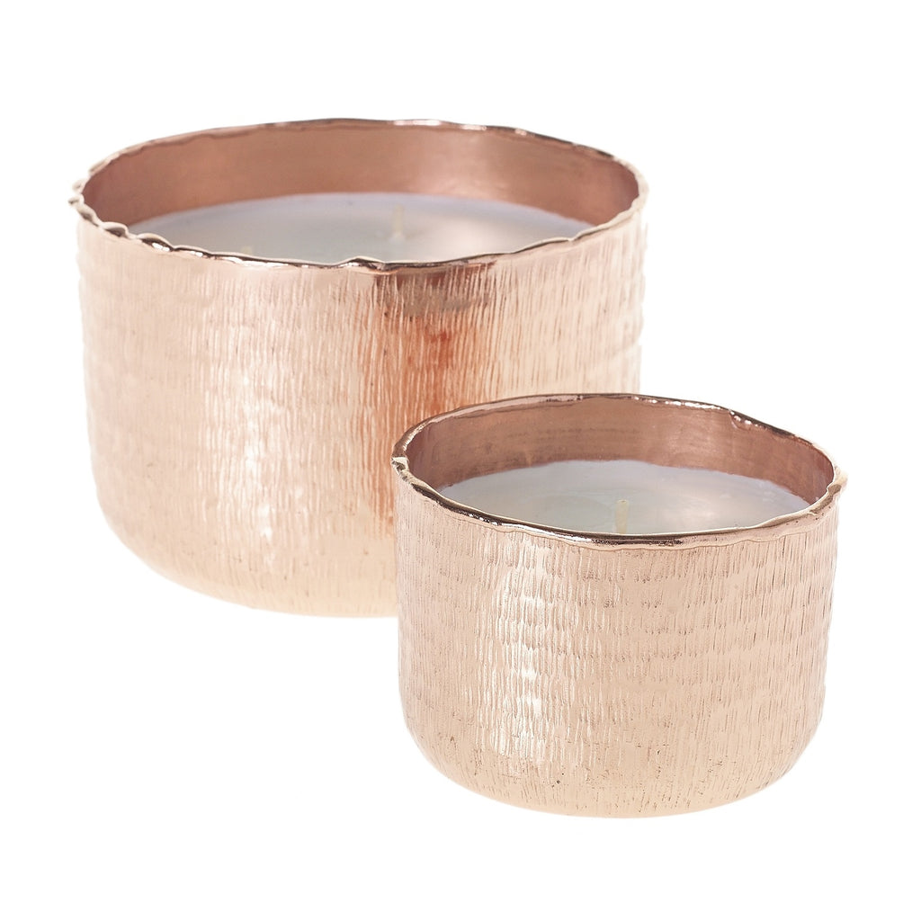 Rose Gold Metal Radiance Candle with Frangrance of Cedar, Patchouli, Vetiver & Vanilla