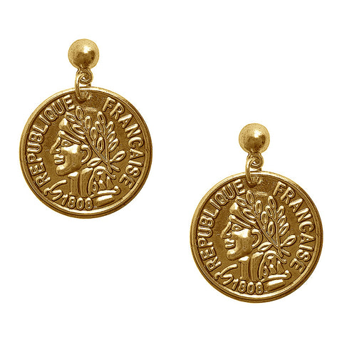 REPUBLIQUE FRANCAISE COIN DROP EARRING