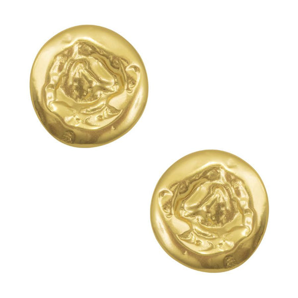 RAFAELLE HAMMERED COIN STUD IN GOLD