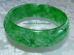 Carved Jadeite Jade Bangle Bracelets