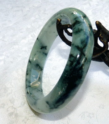 """Dragon Green Veins"" Burmese Jadeite Grade A Bangle Bracelet 58mm + Certificate (3120)"