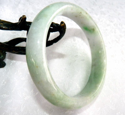 """Mysterious"" Natural Color Burmese Jadeite Bangle Bracelet Grade A 63 mm + Certificate (G4781)"