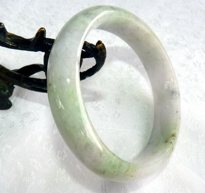 """Endlessly Interesting"" Burmese Jadeite Bangle Bracelet 63 mm Grade A + Certificate (G4782)"