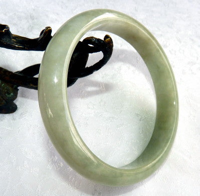 """Smokey"" Green Burmese Jadeite Bangle Bracelet 65.5 mm Grade A +Certificate (G4784)"