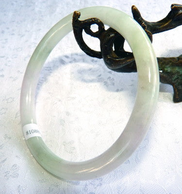 Classic Round Green and Lavender Burmese Jadeite Bangle Bracelet Grade A 65 mm + Certificate (5019)