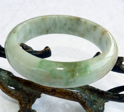 """Good Green Veins"" Burmese Jadeite Jade Grade A Bangle Bracelet 55mm + Certificate (643)"