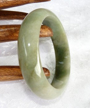 """Clouds Above, Earth Below"" Green and White Grade A Jadeite Jade Bangle Bracelet 55.5mm + Certificate  (647)"