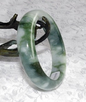 """Clouds over Earth"" Small Jadeite Jade Bangle Bracelet 51mm + Certificate (715)"