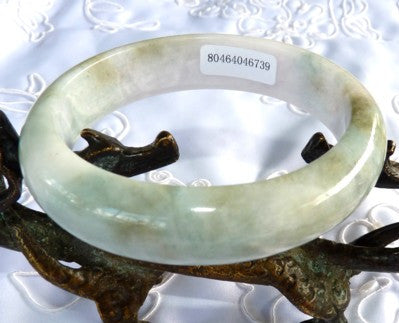 """Clouds Above, Earth Below"" Burmese Jadeite Grade A Bangle Bracelet 59mm + Certificate (739)"