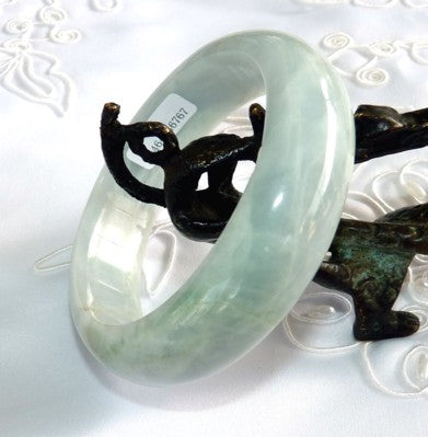 """Earth in Motion"" Natural Color Grade A Jadeite Jade Bangle Bracelet 59mm + Certificate (767)"