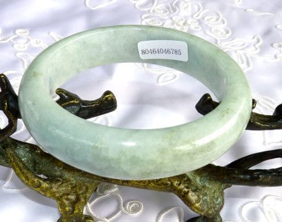 """Healing"" Soft Green Grade A Natural Color Jadeite Jade Bangle 58mm + Certificate (785)"