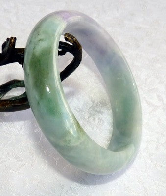 """Endlessly Interesting"" Swirling Green and Lavender Veins Grade A Burmese Jadeite Bangle Bracelet 57mm + Certificate (8526)"