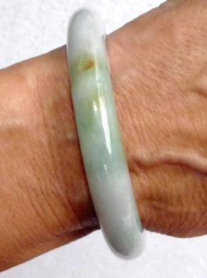 """Endlessly Interesting"" Burmese Jadeite Grade A Bangle Bracelet 54.5mm + Certificate (3092)"