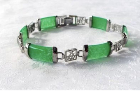 Green Jade and Silver Calligraphy Link Bracelet 8""