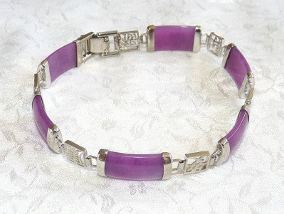 Sale-Lavender Jade and Silver Bracelet