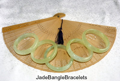 Glowing Translucent Traditional Classic Chinese Jade Bangle Bracelet 65mm (JBB-SPF-65)