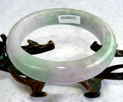 Gorgeous Green and Lavender Burmese Jadeite Grade A Bangle Bracelet 61 mm+ Certificate (G3221)