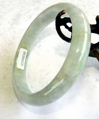 """Glowing Soft Green""Burmese Jadeite Bangle Bracelet 66 mm Grade A + Certificate (G3229)"