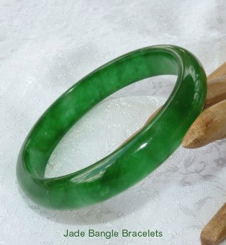 Clearance - Translucent Green Jadeite Jade Bangle Bracelet 58.5mm (JBB3216-2)