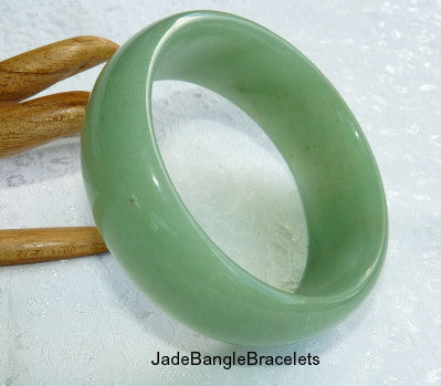 """WIDE CUFF"" Green Chinese Jade Bangle 62mm (H-62-5)"