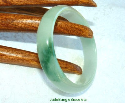 Big Green Veins, Icy White  Burmese Jadeite Bangle 59.5mm (JBB2020)