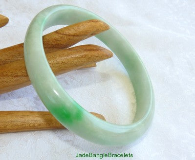 Large/Mens Imperial Green Vein Burmese  Jadeite Bangle 73mm (JBB2058)