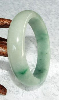 """Butterfly Tracks"" Green Veins Jadeite Bangle Bracelet 57.5mm (JBB2228)"