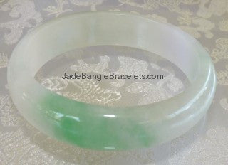 "Clearance-Big Green ""Yang"" Vein on Icy White Jadeite Bangle 59mm (JBB2517)"