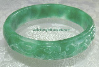 """Live Long, Be Happy"" Green Carved Jadeite Bangle 57.5mm (JBB2678)"