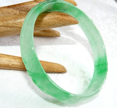 """Bamboo"" Carved Translucent Burmese Jadeite Bangle 57mm (JBB2686)"