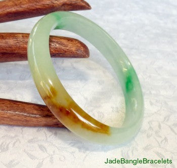 """Fu Lu Shou"" Three Color Jadeite Jade Bangle Bracelet 56.5mm (JBB2723)"