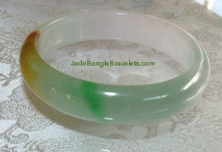 Clearance-Translucent Three Color Green, White, Honey Jadeite Bangle 57mm (JBB2762)