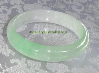 "Clearance-""Yin"" Soft Green and White Jadeite Bangle 57mm (JBB3830)"