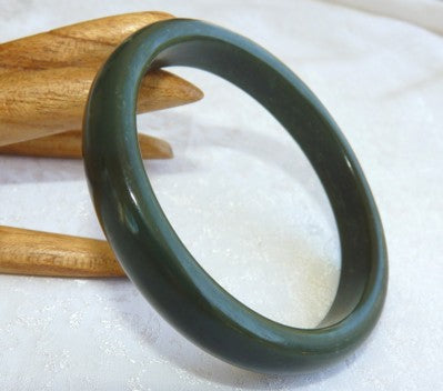 Deep Deep Green Almost Black Jadeite Jade Bangle Bracelet 58.5mm (JBB2867)