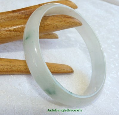 Mossy Green Veins on Icy White Burmese  Jadeite Bangle 57mm  (JBB2871)