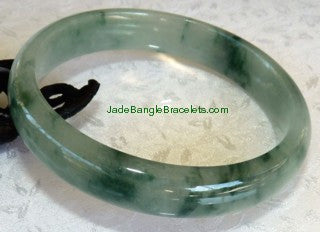 "Clearance-Dragon Green Veins"" Yin and Yang Jadeite Jade Bangle Bracelet 59mm (2876)"