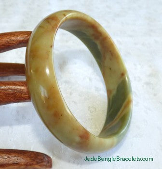 """Personal Power"" Chinese River Jade Bangle Bracelet 59.5mm (JBB3020)"