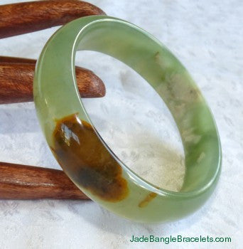 """Heaven and Earth"" Translucent Chinese River Jade Bangle 59.5mm (JBB3022)"