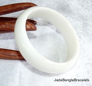 WIDE CUFF Style White Chinese Jade Bangle Bracelet 64mm  (JBB3089)