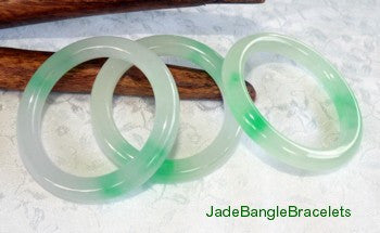 Clearance-Translucent Classic Round Jadeite Baby Bangle Bracelet 38mm (JBB3109)